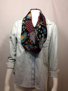 Black Infinity Scarf-Floral Spring Scarf on Etsy, $15.00 CAD