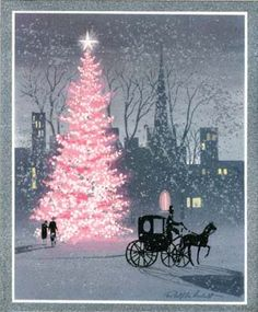 City Tree, The spirit of Christmas radiates from the lighted tree amid the snow of the city streets.