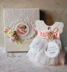 kartka sukienka chrzest, bautismo, dress card scrapbooking, baptism handmade