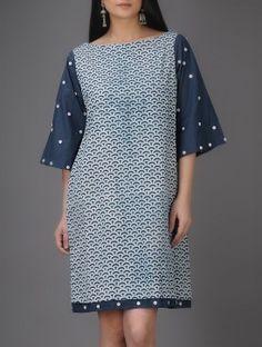 Ivory-Indigo Natural-dyed Bagru-printed Cotton Dress