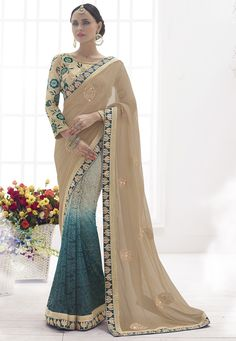 Buy Beige and Peacock Blue Faux Chiffon and Net Jacquard Saree with Blouse online, work: Embroidered, color: Beige / Peacock Blue, usage: Party, category: Sarees, fabric: Chiffon, price: $256.25, item code: SWS5004, gender: women, brand: Utsav