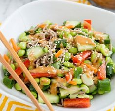 Thai Peanut Soba Noodle Bowl from ohmyveggies.com