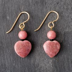 Roxy Gemstones Pink Gemstone Earrings - Hearts