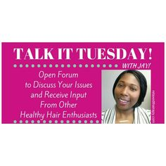 JOIN ME! Starting this coming Tuesday for #TalkItTuesday over on relaxedthairapy.com (clickable link in bio)! It's an Open Forum to discuss our issues and receive input from other #healthyhair enthusiasts. The theme is #healthyhair so that means #relaxedhair #naturalhair #texlaxedhair #transitioninghair. Everyone is invited. All topics are welcome. Please help me to make this a success.
