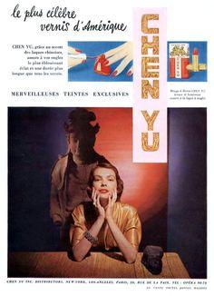 Chen Yu Nail Polish & Lipstick Ad, French 1951