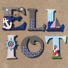 Nautical Wooden Letters, Nautical Nursery Decor, Nautical Letters, Letters for a Nautical Themed Bedroom, Nautical Initials, Nautical Decor by KidMuralsbyDanaR on Etsy https://www.etsy.com/listing/253086628/nautical-wooden-letters-nautical-nursery