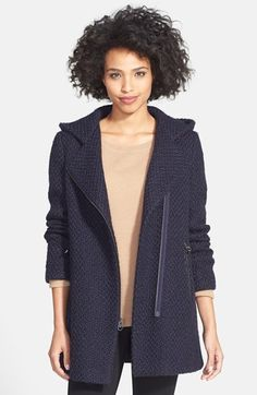 Calvin Klein Hooded Asymmetric Zip Bouclé Coat available at #Nordstrom