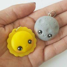 BFF collier Charms, soleil et Lune charme, soleil, lune, BFF, Polymer Clay pendentif, BFF, argile polymère, pendentif en argile, Kawaii, Chibi, charme de l