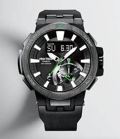Casio Pro Trek PRW-7000 -- It's got analog looks but the technology in this rugged, Pro-Trek adventure watch from Casio can't be overlooked. Triple Sensor Ver. 3 technology powers the digital compass, altimeter, barometer, & thermometer. It also offers tide graphs, 20 bar water resistance, & LED light illumination. $800