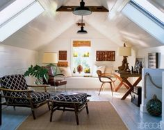 Attic conversion with pretty low ceiling, skylights help!