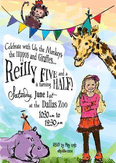 Printable 'Full-Color Hand Illustration' Zoo Birthday Invitation by CustomInkDesigns on Etsy https://www.etsy.com/listing/150448559/printable-full-color-hand-illustration
