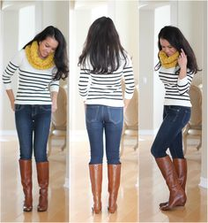 {outfit inspiration} tan boots, jeans, stripes, bright yellow scarf. I don't look good in yellow but that's easy to change! Great outfit.