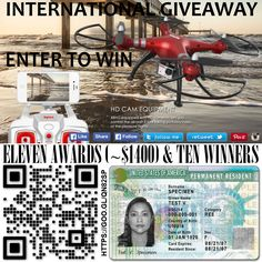 We have 11 gifts to distribute among the 10 winners. The first prize is a DRONE SYMA S8HG (or higher) and a FAMILY PLAN from our services. The second and third prize, a FAMILY PLAN to each one. And the next seven winners, will get a SINGLE PLAN to each one. The total value of prizes of amounts to ~$1400. The giveaway is an international giveaway. Good luck, everyone!  https://gleam.io/jiWXw/syma-x8hg-drone-greencard-access