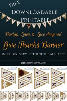 This Free Printable Banner Includes Every Letter of the Alphabet as well as the Heart and Lace Bow Accent Pennants so you can make your own custom banner for any occasion!