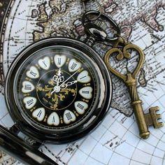 Steampunk Victoriana DARK MAGIC pocket watch key Necklace Victorian locket pendant charm ---- SET