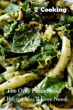 Red Wine Vinegar Fried Zucchini, Edamame, Lemon, Caper, and Mozzarella Strozzapreti Salad in Parsley and Basil Pesto Sauce