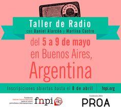 ¡Ya están abiertas las inscripciones para el Taller de Radio con Daniel Alarcón y Martina Castro! El taller, organizado por la FNPI y la Fundación Proa tendrá lugar en Buenos Aires del 5 al 9 de mayo.   Tienes hasta el 8 de abril para inscribirte. ¿A qué estás esperando?  Más información sobre como postularte: http://www.fnpi.org/actividades/2015/taller-de-radio-con-daniel-alarcon/