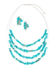 Turquoise Chip Necklace and Earrings Set - Accessorize like a fashionista in this set featuring a four-row illusion necklace adorned in simulated turquoise chips and matching cluster drop earrings.