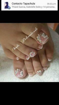 Super nails art ideas for fall toe 45 Ideas - Augen makeup - Nageldesign Bridal Pedicure, Pedicure Nail Art, Bridal Nails, Toe Nail Art, Wedding Nails, Pedicure Ideas, Flower Pedicure, Fall Pedicure, Wedding Toes