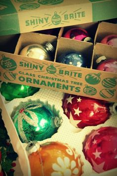 Boxes of vintage Shiny Brites