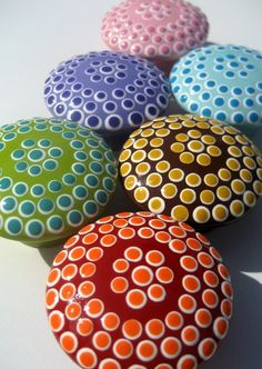 Items similar to Hand Painted Monochromatic Dotted Drawer Knobs, Decorative Door Pulls, Spots, Set of 6 on Etsy Mandala Painting, Pebble Painting, Dot Painting, Pebble Art, Mandala Art, Stone Painting, Stone Crafts, Rock Crafts, Rock And Pebbles