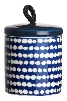Porcelanowy pojemnik - Granatowy/Białe kropki - HOME   H&M PL 1