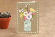Kraft Jar Bouquet Mothers Day Greeting Cards by A... | Minted