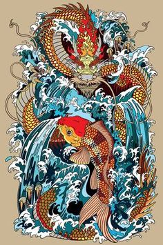 Stock illustration: golden dragon and koi carp fish which is trying to reach the top of the waterfall. Tattoo style vector illustration according to ancient Chinese and Japanese myth. Koi Dragon Tattoo, Dragon Koi Fish, Carp Tattoo, Koi Carp Fish, Japanese Dragon Tattoos, Japanese Tattoo Art, Dragon Tattoo Designs, Japanese Art, Water Dragon