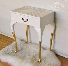 Vintage Queen Anne Gold Dipped Bedside Table with Geometric Pattern on Top…