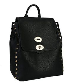 Rimen & Co. Turn-lock Fashion Studded Backpack (Black)
