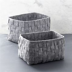 Woven Felt Bin Set of Two I Crate and Barrel