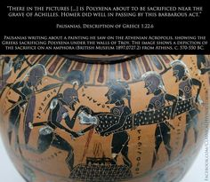 """Human sacrifice in ancient Greece: myth or based in reality?  """"There the pictures [...] is Polyxena about to be sacrificed near the grave of Achilles. Homer did well in passing by this barbarous act.""""  Pausanias, Description of Greece 1.22.6  Pausanias writing about a painting he saw on the Athenian Acropolis, showing the Greeks sacrificing Polyxena under the walls of Troy. The image shows a depiction of the sacrifice on an amphora (British Museum 1897,0727.2) from Athens, c. 570-550 BC."""