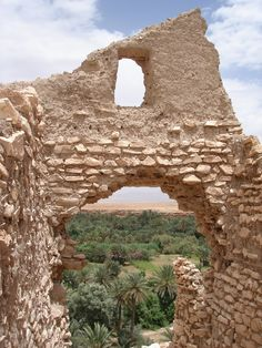 The old Kasbah in Meski near Errachidia looking out on the Ziz Valley