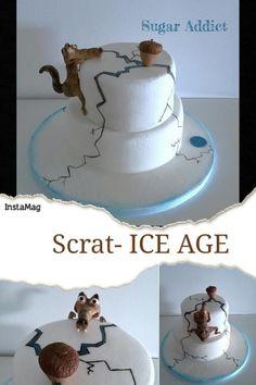 Scrat- Ice Age - Cake by Sugar Addict by Alexandra Alifakioti Cake Decorating Supplies, Cake Decorating Techniques, Unique Cakes, Creative Cakes, Ice Age Birthday Party, Birthday Cake, Fondant Cakes, Cupcake Cakes, Ice Age Cake