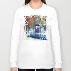 Starry Winter blue phone box Digital Art Long Sleeve T-shirt #longsleeve #Clothing #Tshirt #ShortSleeved #Geekery #Tshirt #tee #geek #cute #etsy #redbubble #tardis #doctorwho #painting #art #blue #starrynight #autumn #winter #phonebox