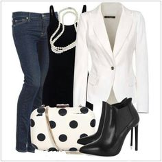 CHATA'S DAILY TIP: Wear a smart white jacket with a black T-shirt (or top) and jeans. The result? A stunning, head-turning ensemble; this is such a fabulous option for Casual-Fridays. Add a double string of pearls, a must-have spotted bag and either black ankle boots or high-heel sandals to comple