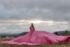 Incredible dream photoshoot in nature at sunrise, pink parachute dress and professional hair and make up.Portland Oregon