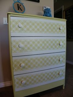 Remodelaholic » Blog Archive Painted Dresser With Fun Stencil Pattern » Remodelaholic