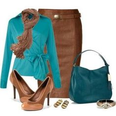 Turquoise and Rust work outfit