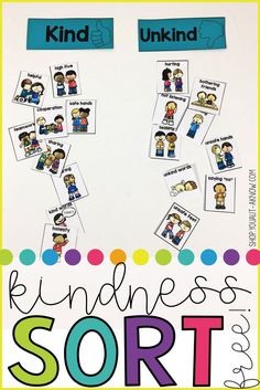 Kindness is such an abstract concept that is hard for a lot of students to understand. This kindness sort makes the concept more concrete. Students sort behaviors as kind or unkind. Check out this free resource now! Classroom Behavior, Preschool Classroom, In Kindergarten, Preschool Activities, Manners Preschool, Classroom Ideas, Teaching Manners, Health Activities, Preschool Learning
