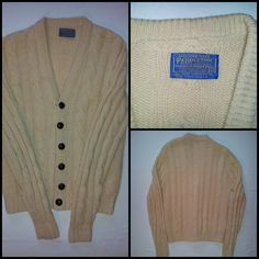 Vintage Virgin Wool Pendleton Cardigan Button Sweater Cream Brown