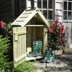 Welly Boot Stands, UK made by Poppy Forge. Also Boot Jacks, Boot Scrapers and Welly Storage Huts. Ideas to keep you house clean and keep your wellies dry and tidy. Wooden Welly Boot Shelter, Two Tier - Wooden Welly Boot Shelter, Two Tier Garden Huts, Eco Garden, Garden Ideas, Wooden Storage Sheds, Patio Store, Log Store, Garden Arches, House Viewing, Timber House