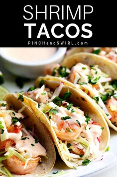 Easy, healthy and, most importantly FABULOUS Shrimp Tacos! With cabbage and radish slaw for crunch and creamy, spicy Shrimp Taco Sauce! Easy Spicy Shrimp Tacos Recipe - Pinch and Swirl The Shrimp Taco Sauce, Spicy Shrimp Tacos, Shrimp Taco Recipes, Fish Recipes, Mexican Food Recipes, Dinner Recipes, Shrimp Sauce Recipe Easy, Marinade For Shrimp, Toco Recipes