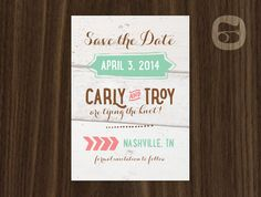 Rustic White Wood Handwritten Mint and Coral Save the Date by ThirdofAugust