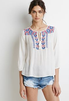 Floral Embroidered Peasant Top, cream blue $27.90 | Forever 21 - 2002247985