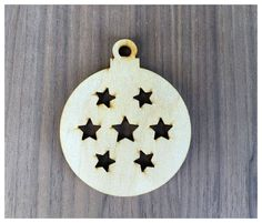 6 Pieces- Christmas Ornament Shapes Round/Ball With Stars Craft Wood Shapes - pinned by pin4etsy.com