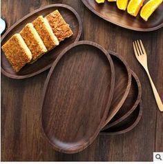 Wooden cutlery black walnut oval wooden hand-made dessert dish & Round Nature Healthy Acacia auriculaeformis Wood Pizza Plates Salad ...
