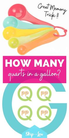 When you can't remember how many quarts in a gallon try this great memory trick! Use the gallon eating the quarts trick. It makes things easy! #printable #kitchenconversion #freeprintable How Many, Great Memories, Household Tips, Free Printables, Canning, Easy, Home Hacks, Free Printable, Home Canning