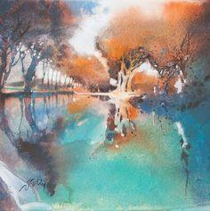 Ink Painting, House Painting, Watercolor Paintings, Watercolours, Contemporary Landscape, Abstract Landscape, Canal Du Midi, Autumn Art, Watercolor Techniques