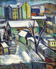 Armand Schönberger (Hungarian, 1885–1974) Title: City at wintertime Medium: oil on canvas Size: 56 x 46.5 cm. (22 x 18.3 in.)